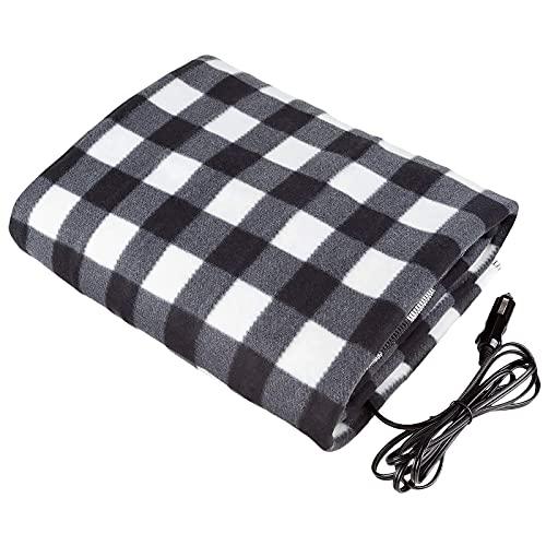 SoeHong Manta eléctrica para coche, 12 voltios con temporizador de seguridad, manta de calefacción de temperatura constante, manta de calefacción portátil para viajes de coche y uso de camping