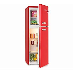 Klarstein Audrey Retro - Retro Fridge-Freezer Combination, 97-Litre Refrigerator, 39-Litre Freezer, Infinitely Variable Cooling Capacity, Interior Lighting, 41 dB Operating Noise, Colour: Red