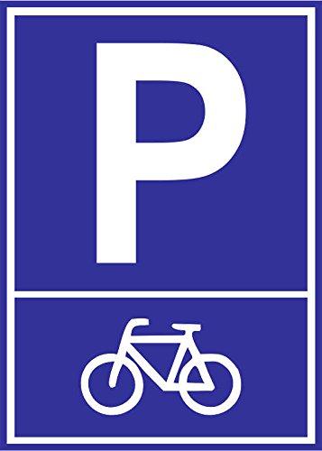 INDIGOS UG - Parkplatzschild - Fahrrad Motiv - Alu-Dibond 21x15 cm - Warnung - Sicherheit - Hotel, Firma, Haus