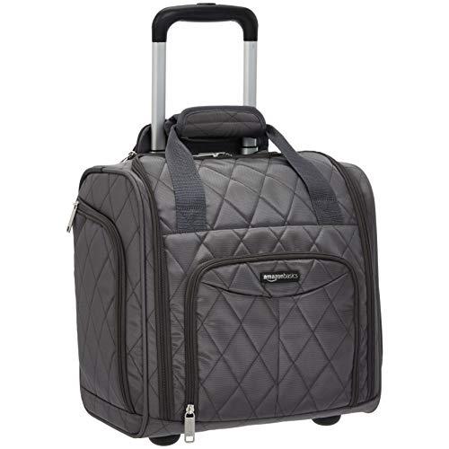 Amazon Basics - Koffer zum Verstauen unter dem Sitz, Grau Gesteppt