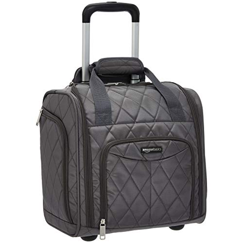 AmazonBasics Underseat Carry-On Rolling Travel Luggage Bag, 14 Inches, Grey Quilted