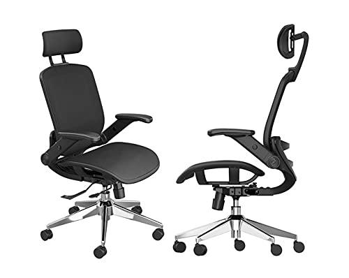 Snoviay Ergonomischer Bürostuhl, Mesh-Stuhl Schreibtischstuhl mit hoher Rückenlehne, hochklappbarer Armlehne, Einstellbarer Kopfstütze, Kippfunktion, PU-Rollen, schwenkbarer Computerstuhl