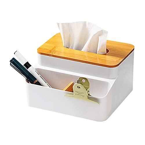 Organizador De Escritorio De Madera Dispensador de pañuelos con Tapa, Caja Organizadora De Almacenamiento De Escritorio, Organizador, Dos Compartimentos, Bambú