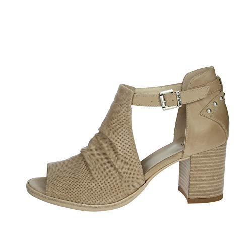 NEROGIARDINI - Sandalo accollato beige con tacco medio