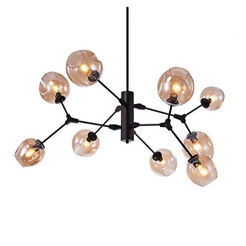 Glazen kroonluchter, 9 koppen lamp Bubble Ball plafondhanger verlichting Nordic Cognac kleur voor bar studie eetkamer slaapkamer bar