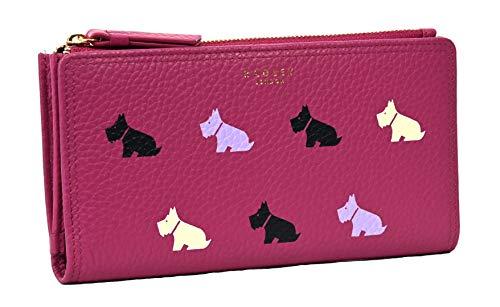 RADLEY Large Zip Around Matinee Purse Multi Dog in Fuchsia Pink Leather