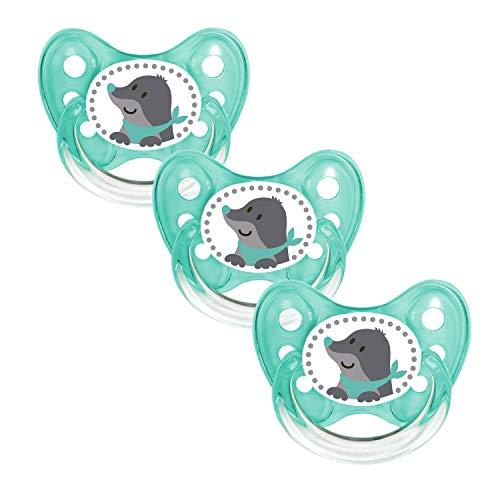 Dentistar® Schnuller 3er Set - Baby Nuckel Silikon in Größe 2, von 6-14 Monate - zahnfreundlich & kiefergerecht - Beruhigungssauger für Babys - Made in Germany - BPA frei - Maulwurf mint