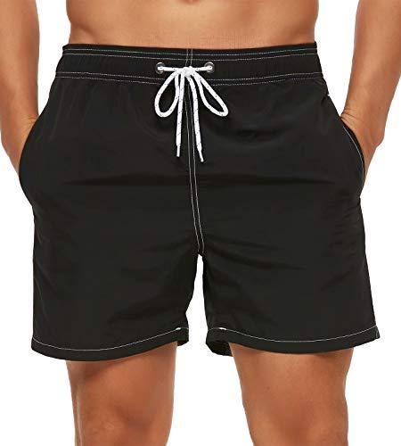 Tyhengta Mens Swim Trunks Quick Dry Beach Shorts with Mesh Lining Black 32