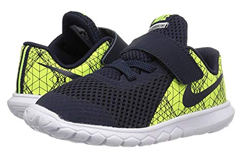 Nike Boy's Flex Experience 5 Print (TDV) Running Shoes (4 Toddler M, Volt/Obsidian/White/Black)
