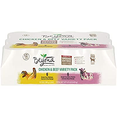 Purina Beyond Grain Free, Natural Pate Wet Dog Food, Chicken & Beef Recipe Variety Pack - (12) 13 oz. Cans