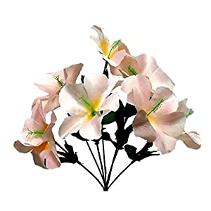 LINESS for 5X Hibiscus Artificial Silk Flowers Centerpiece Fake Faux Bouquet Party Tropical DIY LINESS for Wedding Flowers, Petals & Garlands Floral Décor – Color is Beige Champagne