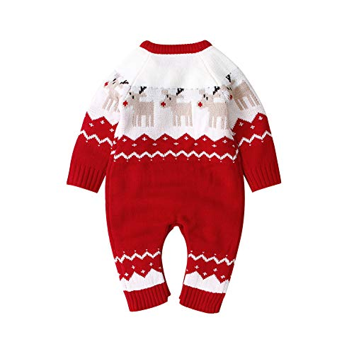 HUAGE Unisex Baby Kersttrui Baby Trui Romper Kerst Jumpsuits Gebreide Rendier Bodysuit Cartoon Kerst Elanden Jumpsuits Met Knopschakelaar Geschikt Voor 0-24 Maanden Baby