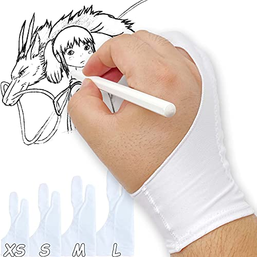 TIMEBETTER Artist Drawing Glove, Digital Art Palm Rejection Gloves for Tablet, iPad, Smudge Guard, Two Finger, Suitable for Both Left and Right Hand - White, Medium, Pack of 2
