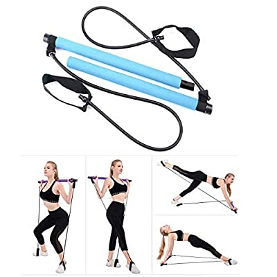 ADO Stap Pilates Flexbands Pilates Stick Portable Pilates Bar Kit with Resistance Band Exercise Bar for Total Body Workout Yoga Fitness Stretch Stick