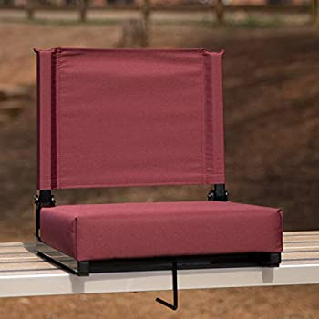 Flash Furniture Grandstand Comfort Seats by Flash - 500 lb Rated Lightweight Stadium Chair with Handle & Ultra-Padded Seat Maroon