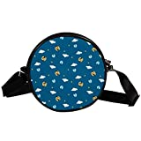 Bolso cruzado redondo rayas láser impresión moda hombro mensajero bolsas para mujeres hombres niñas niños, Multicolor 7,