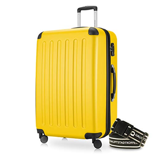 HAUPTSTADTKOFFER Valigia 128 litri Nuovo: 4 ruote gemelli superficia ruvida luchetto TSA seria SPREE (Colore Giallo + una cintura per la valigia)