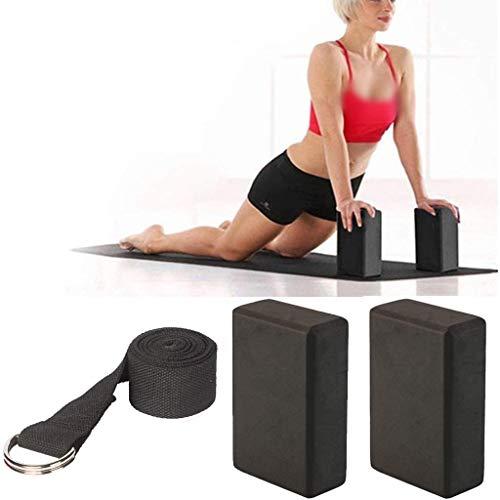 Amycute Mattoncini Yoga Blocks più la Cinghia con Metal D-Ring, Mattoni Block Yoga in Schiuma Eva ad Alta Densità per la Meditazione Yoga Pilates