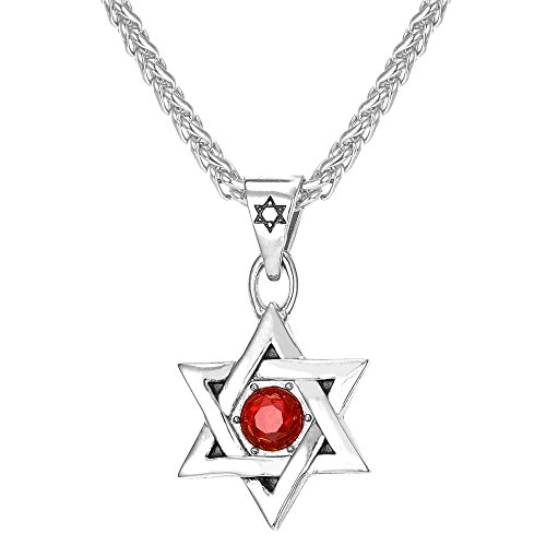 U7 Religious Jewelry Red Ruby Stone Star of David Necklace 18K Gold Plated Men Pendant