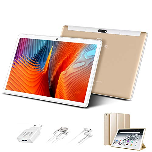 Tablet 10 Pulgadas 4G Full HD 3GB de RAM 32GB/128GB de ROM Android 9.0 Certificado por Google GMS Quad Core Tableta Batería de 8500mAh Dual SIM 8MP Cámara Tablet PC Netfilx WiFi Bluetooth OTG, Oro