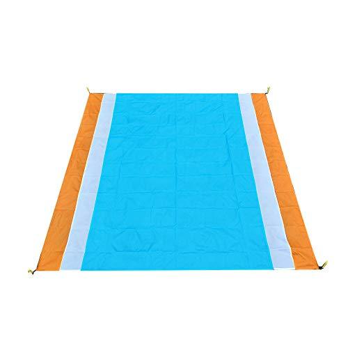 Enticerowts Tapis de tente de camping 210 x 200 cm Couverture de plage Imperméable Pliable pique-nique Multifonctionnel Produits de plein air, Orange + blanc + bleu.