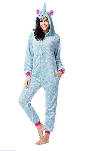 CozofLuv Einhorn Kostüm Erwachsene Tier Jumpsuits Pyjama Nachthemd Nachtwäsche Karnevalskostüme Faschingskostüm Kapuzenkostüm (M: 160-170cm, Blauer Stern)