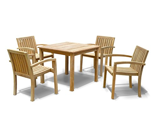 Jati Hampton Square Garden Table 0.9m and 4 Antibes Stacking Chairs Brand, Quality & Value