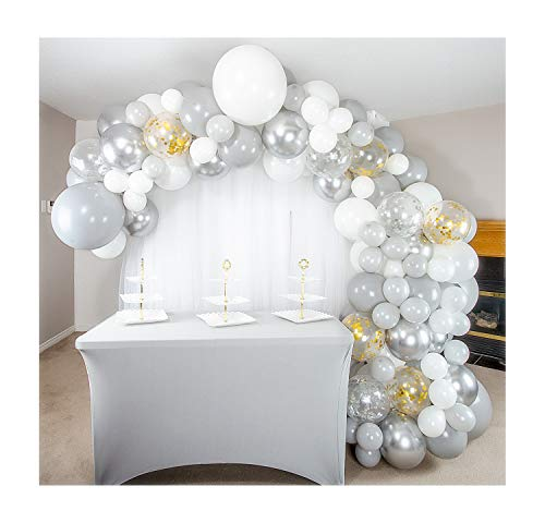 Shimmer and Confetti 155 Pack Premium DIY White, Silver, Gold and Gray Balloon Arch and Garland Kit with Metallic Silver and Confetti Balloons. Party Supplies and Decorations for Birthday, Bridal and Baby Showers and Weddings