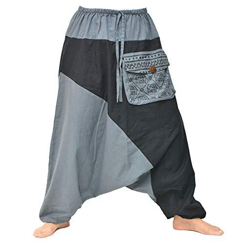 Siamrose Haremshose für Damen und Herren, Yoga-Hose, Aladdin-Hose, Bohemian-Hose, Einheitsgröße -  Grau -  Einheitsgröße