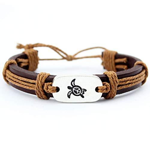 Generic Damen Lederarmband,Vintage Leder Geflochten Armreifen Metall Gravur Schildkröte Gewebe Verstellbare Braun Charme Bracelets Persönlichkeit Männer Jungen Frauen