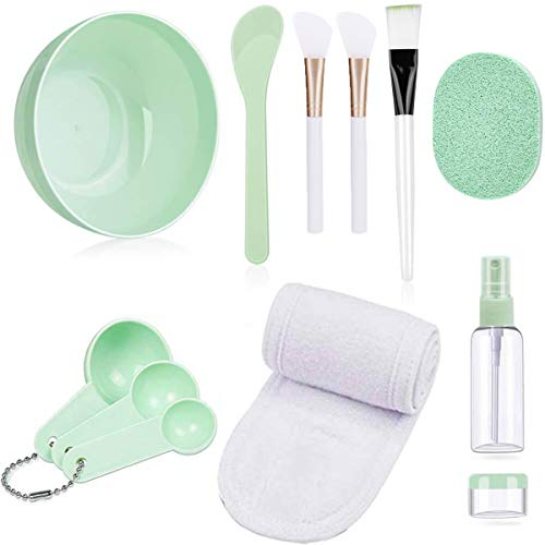 Acmerota Face Mixing Set, DIY Travel Face Cover Mixing Bowl, 12 Pcs DIY FaceCover Mixing Tool Kit, Stick Spatula, Measuring Spoons, Silicone Face Cover Brush, Bottling, Makeup Headbands,Face flutter