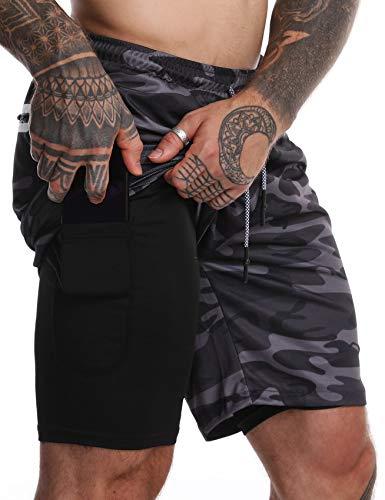 FLYFIREFLY - Pantalones cortos de entrenamiento 2 en 1 para hombre, 7 pulgadas, ligeros, para gimnasio, yoga, entrenamiento, deporte, pantalones cortos - gris - M etiqueta XXL