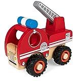 WOOMAX - Camión bomberos, camión bomberos juguete, camión bomberos de madera, coches de juguete, camión de bomberos con escalera, Juguetes educativos, juguetes bebés 18 meses (46463)