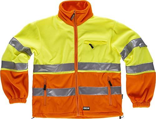 S-ROX WORKTEAM Veste polaire avec bandes réfléchissantes Col haut et fermeture éclair en nylon. Un sac de poitrine et deux sacs pour homme - Orange - Small
