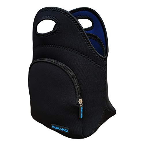 KOKAKO - Fiambreras de neopreno para almuerzos (tamaño pequeño), lavable, aislado, impermeable, para hombres y mujeres, niños (gris-azul con bolsillo)