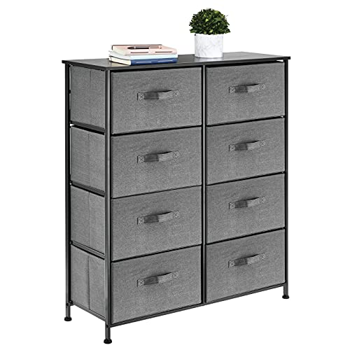 mDesign Storage Dresser Furniture Unit - Tall Standing Organizer for Bedroom, Office, Living Room, and Closet - 8 Slim Drawer Removable Fabric Bins - Charcoal Gray