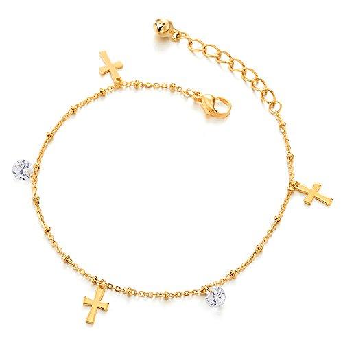 COOLSTEELANDBEYOND Edelstahl Goldfarben Damen-Fußkette Fußkettchen mit Charms Kreuz, Zirkonia und Klingglöckchen