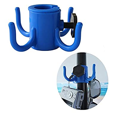 AMMSUN Beach Umbrella Hanging Hook,4-prongs Plastic Umbrellas Hook Hanging for Towels/Camera/Sunglasses/Bags,Fit for Beach,Camping Trips Blue (Small Size fit 0.75  to 1.26  Pole)