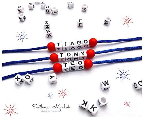 1 Pulsera TIAGO TONY TEO NICOLO ADRIANO CRISTINA con nombre, mensaje; texto, regalo personalizado para adultos y niños; creación personalizada; letras del alfabeto Hecho a mano Handmade