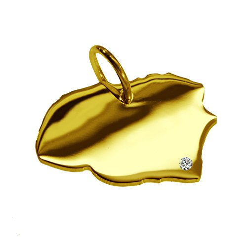 Kettenanhänger in der Form von der Landkarte Föhr mit Brillant 0,015ct an Ihrem Wunschort in massiv 585 Gelbgold