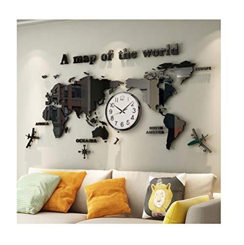Mural Geografía Mapa del mundo Sala de estar Pasillo HD Etiqueta de la pared Viento-Hay relojes_De gran tamaño
