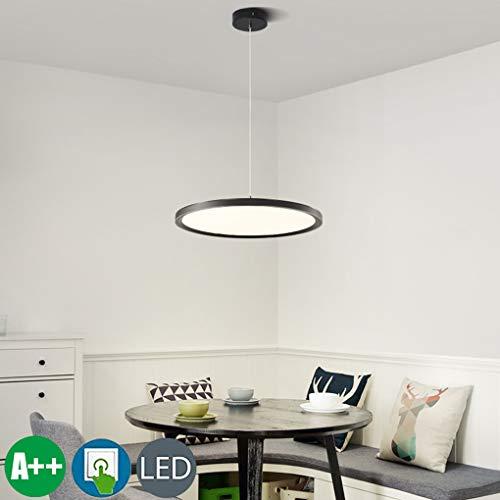 LED hanglamp ring eettafel hanglamp dimbaar hanglamp rond paneel keukenlamp ultradun metaal acryl scherm in hoogte verstelbaar eetkamer lamp bureaulamp eetkamer hanglamp 24W zwart