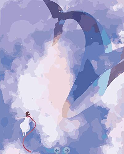 SDHJMT schilderen op cijfers geanimeerd aquarium abstracte kunst acryl verven beginners olieverfschilderij doe-het-zelf canvas kit binnendecoratie 20x24inch