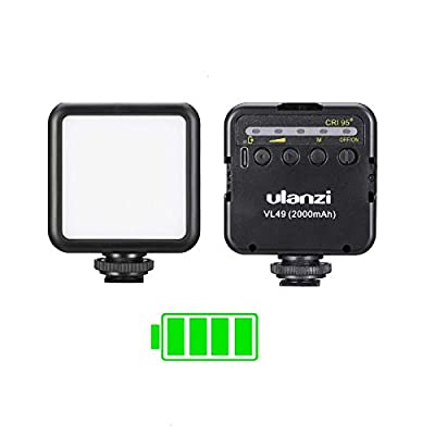 ULANZI VL49 2000mAh LED Video Light w 3 Cold Shoe, Rechargeable Soft Light Panel for DJI OSMO Mobile 3 OM 4 Pocket Zhiyun Smooth Sony ZV-1 A7 III RX100 VII Canon G7X III A6400 Camera GoPro 8 Vlogging from ULANZI