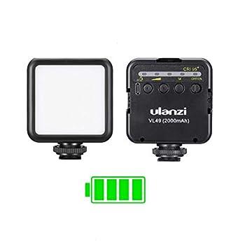 ULANZI VL49 2000mAh LED Video Light w 3 Cold Shoe Rechargeable Soft Light Panel Portable Photography Lighting for DJI OSMO Sony DSLR Canon Camera GoPro Vlogging