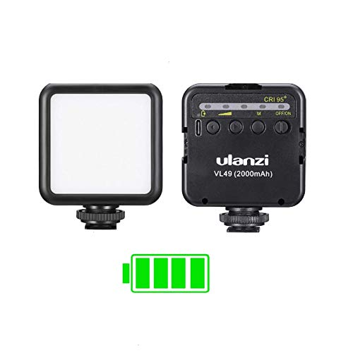 ULANZI VL49 2000mAh LED Video Light w 3 Cold Shoe, Rechargeable Soft Light Panel for DJI OSMO Mobile 3 OM 4 Pocket Zhiyun Smooth Sony ZV-1 A7 III RX100 VII Canon G7X III A6400 Camera GoPro 8 Vlogging