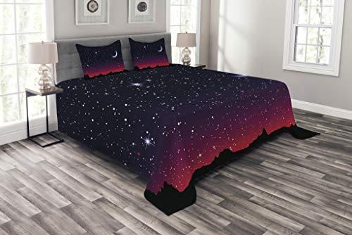 ABAKUHAUS Noche Cubrecama, Cielo Rojo por la Noche con Paisaje Estrellado y Montañas Astrología, Colores Firmes y Durables, 220 x 220 cm, Negro Magenta Indigo