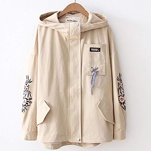 NSWTKL dames jeansjack, geborduurd, met capuchon, jas, damesjack, topmaat, bomberjacks, Japanse stijl, damesjas, lange mouwen, herfst, outwear