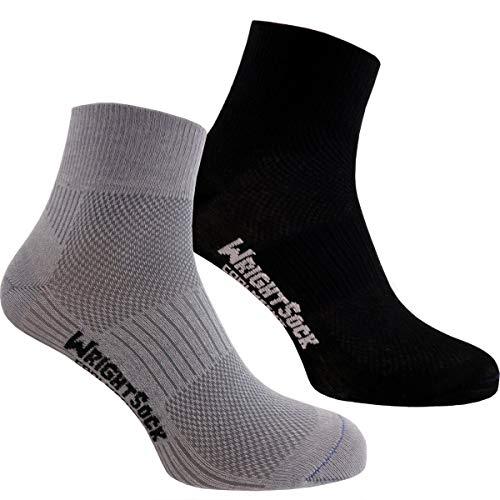 Wrightsock Profi Sportsocke - Coolmesh II Quarter I Anti-Blasen-Socken Runningsocken mittellange Socken doppellagig I atmungsaktive Laufsocken Wandersocken I 2er Pack (L (42-46), Schwarz/Grau)