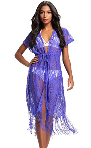 Costyleen Summer Womens Beach Wear Cover up Swimwear Bikini Lace Floral Long Maxi Beach Dress Blue XL